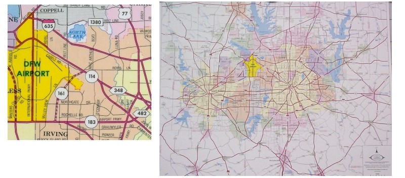 yer basic Mtroplex map including major thoroughfares. Scale...one quarter inch equals one mile.